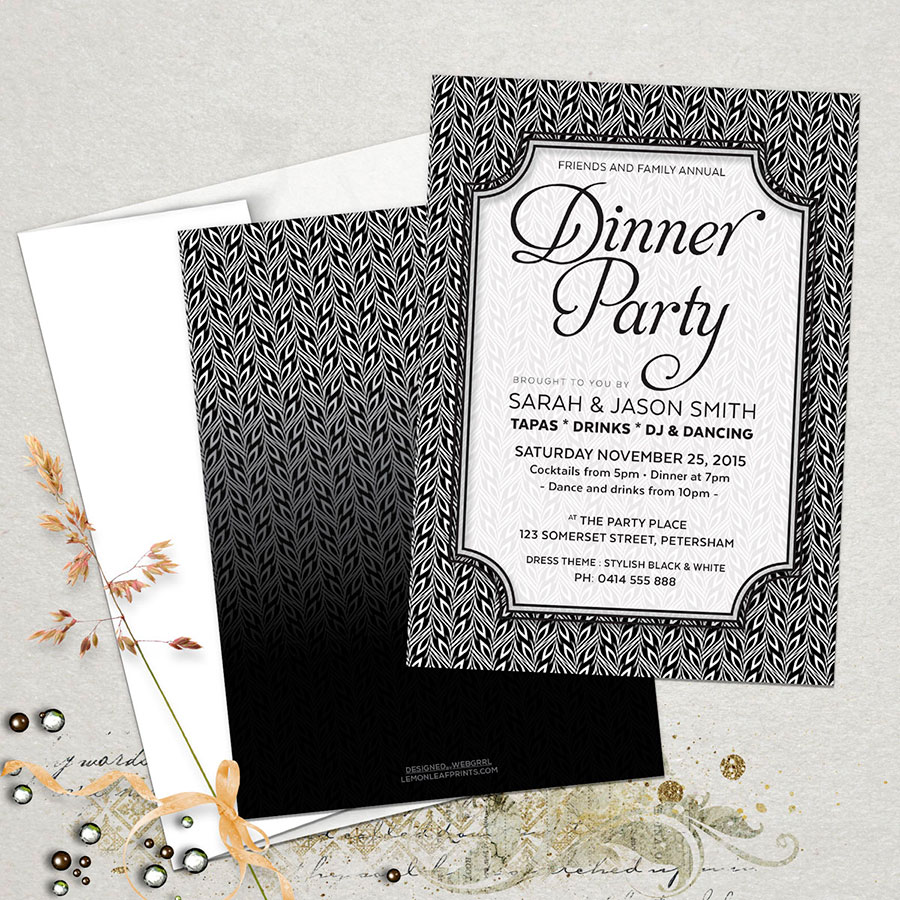 stylish black white dinner party invitations partyinvitecards the best invitations online. Black Bedroom Furniture Sets. Home Design Ideas
