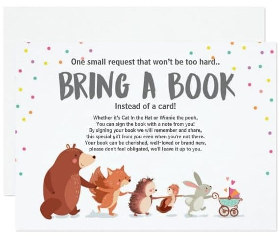 Baby Shower Bring a book card Woodland animals