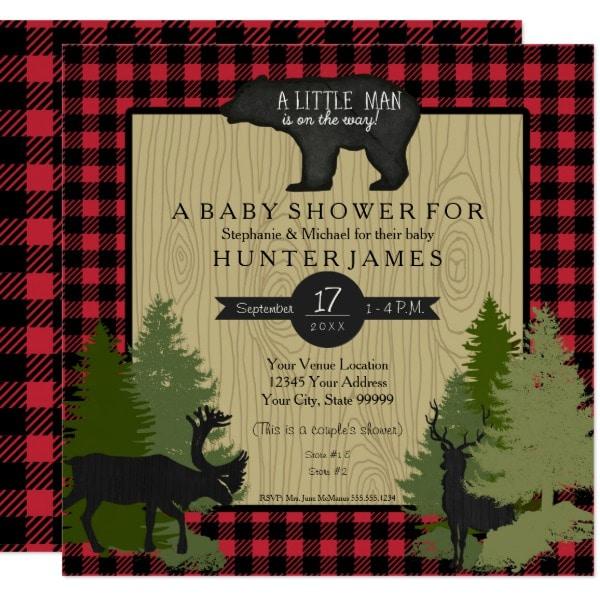 bear_woodland_forest_lumberjack_plaid_baby_shower_card