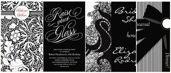 Stylish Black White Dinner Party Invitations ...