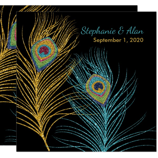 Blue Gold Glitter Peacock Feathers Wedding - Square Invitation Card