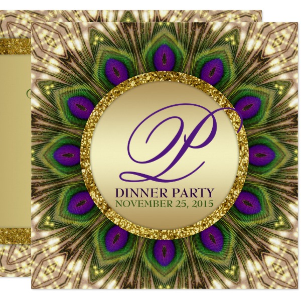 Eastern Peacock Feathers Dinner Party Bespoke Invitations