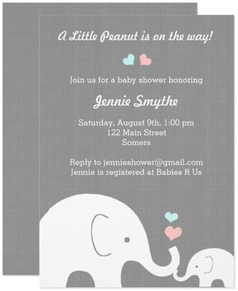 Blue and Pink Elephant Baby Shower Invitation Card