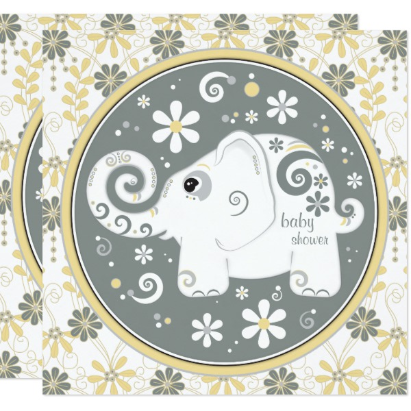 elephant_floral_yellow_grey_baby_shower_invitation