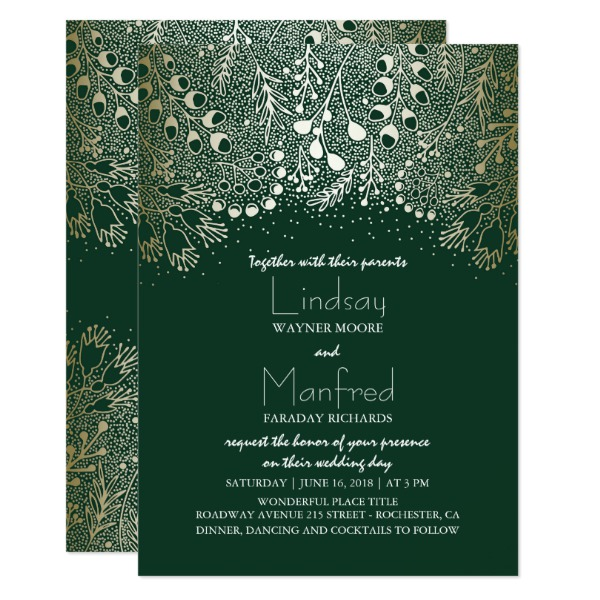 gold_and_emerald_green_enchanted_woodland_wedding_card