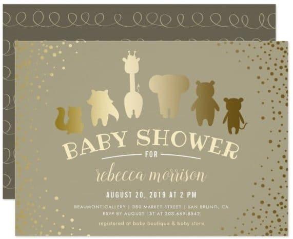 Cute Animals Baby Shower Invitations Stationery