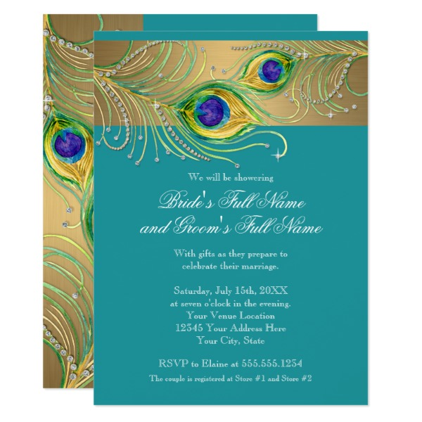 modern_peacock_feathers_faux_jewel_bridal_shower_card