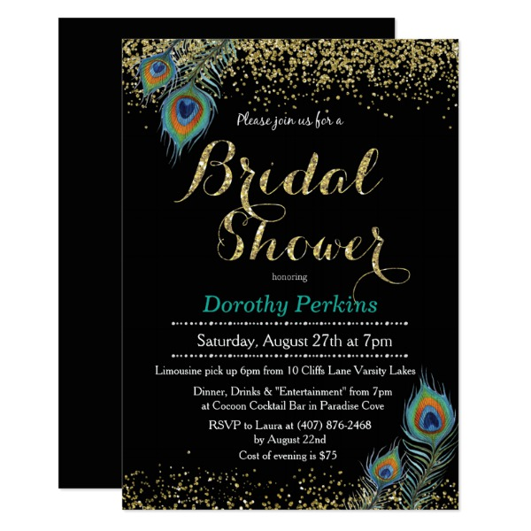 peacock_feather_glitter_bridal_shower_invitation