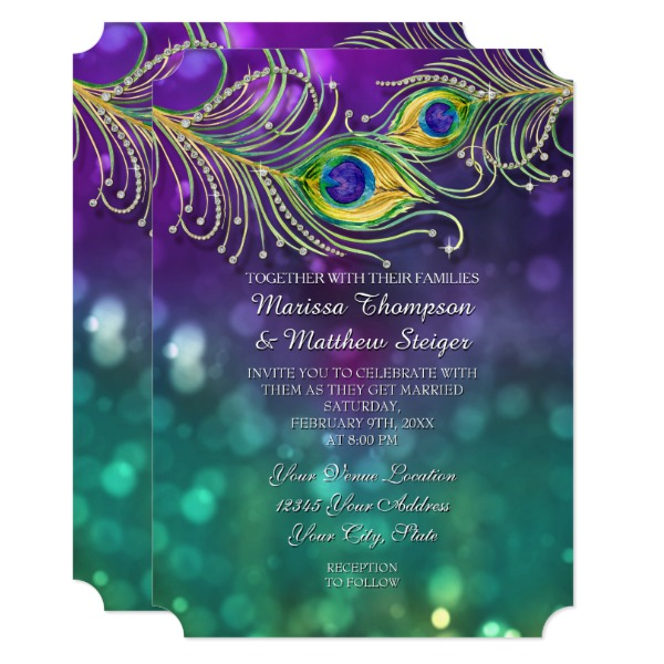 peacock_feather_wedding_jeweled_feathers_bokeh_card