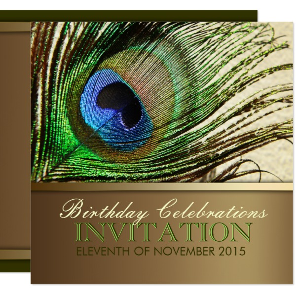 Goddess Peacock Feather Birthday Invitation