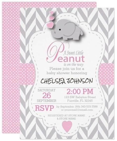 pink_white_gray_elephant_baby_shower_2_card
