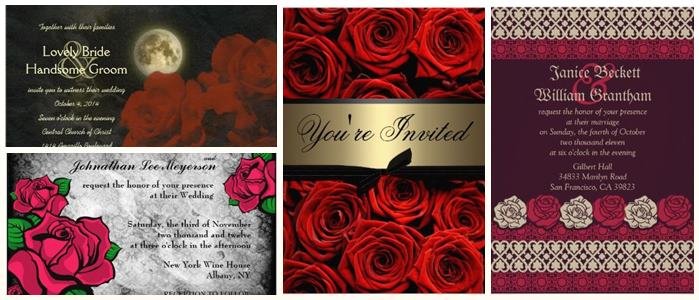 Red Roses Gothic Wedding Invitations partyinvitecards the best