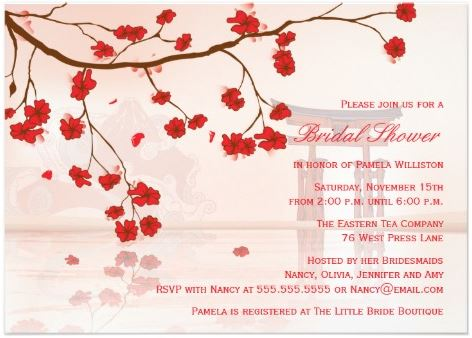 Party invitations engagement asian theme
