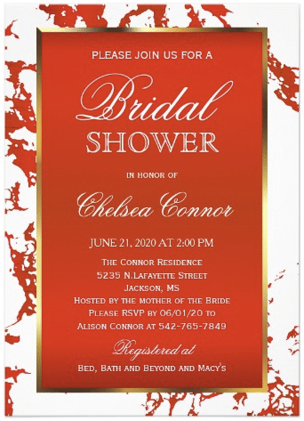 bridal_shower_bright_red_marble_white_gold_card