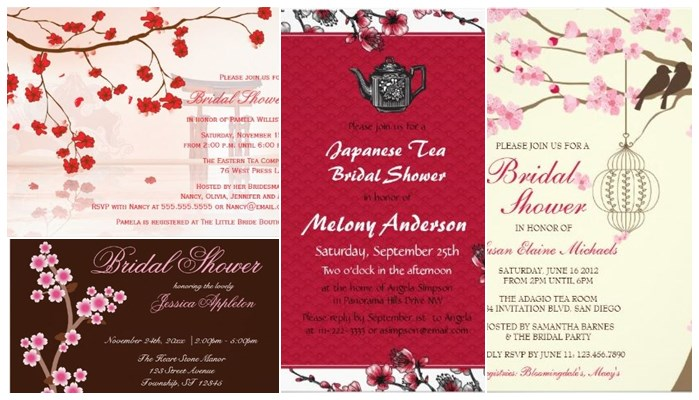 pretty spring theme bridal shower cherry blossom floral invitations