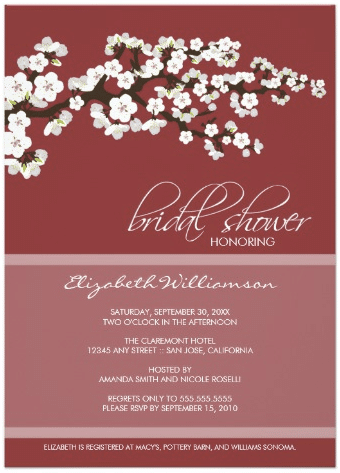 Cherry Blossom Bridal Shower Invitation (red) by TheWeddingShoppe
