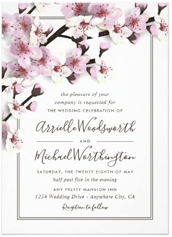 Cherry Blossom Pink White Wedding Invitations by RusticWeddings