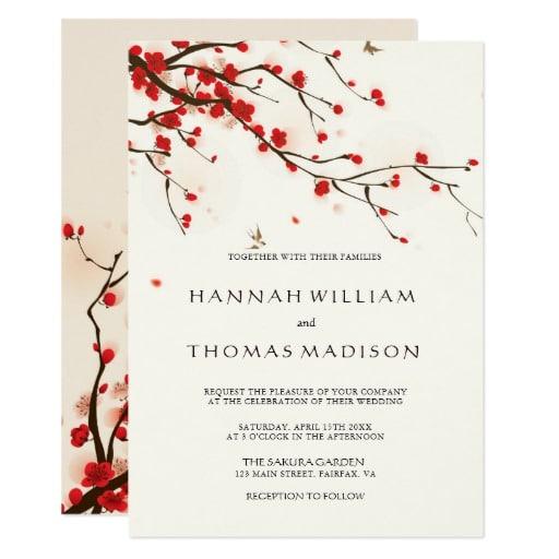 Cherry Blossoms Watercolor Wedding Invitation by cardsbyflora