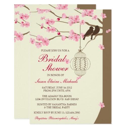 Love Birds Vintage Cage Blossom Bridal Shower Card by InvitationBlvd