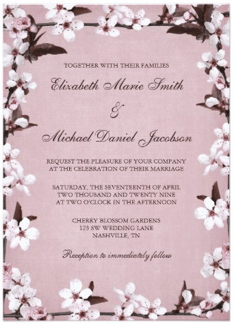 Pink Cherry Blossoms Border Wedding Card by printcreekstudio