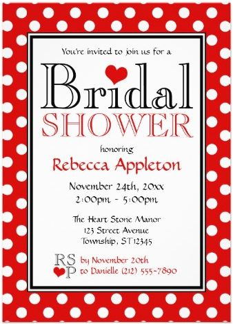 Red And White Bridal Shower Invitations Partyinvitecards The