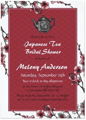 Red Black Japanese Tea Bridal Shower Invitation by wasootch