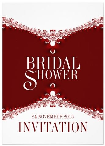 Red White Elegant Lace Bridal Shower Invitations by AlternativeWeddings