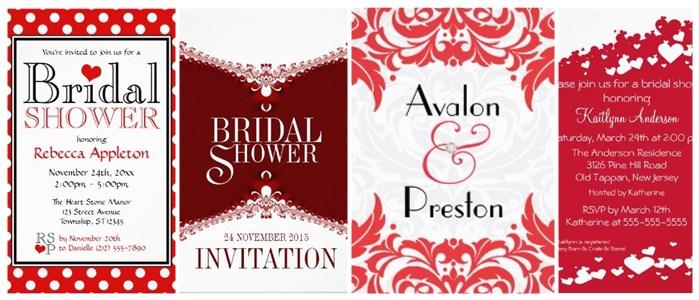 red and white bridal shower invitations