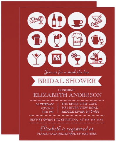 Retro Red Stock the Bar Bridal Shower Invitation by invitationstop