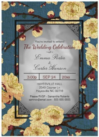 Vintage Japanese Cherry Blossom Wedding Invitation by Youre_Invited