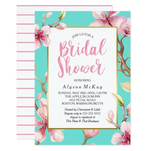 Watercolor Cherry Blossom Bridal Shower Card by petalprints