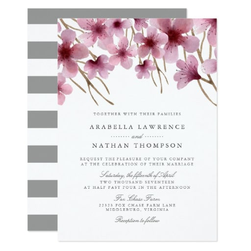 Watercolor Cherry Blossoms Wedding Invitation by RedwoodAndVine