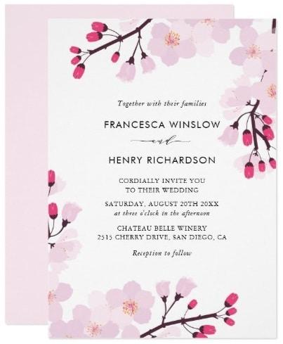 4624e04cfd69 Pretty Spring theme Bridal Shower Cherry Blossom Floral Invitations
