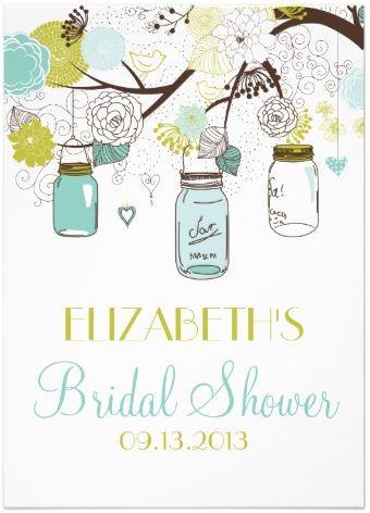 Mason Jars Shower Invitations - 2013 Popular Wedding Trends