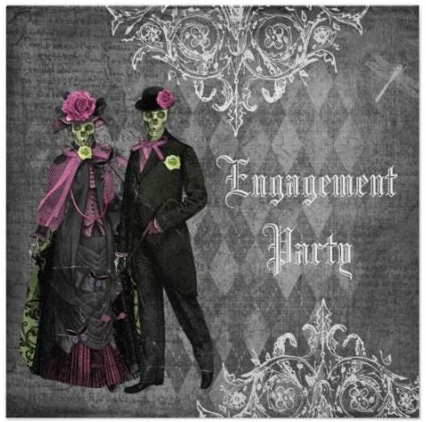 Creepy Halloween Bride & Groom Engagement Party Invites