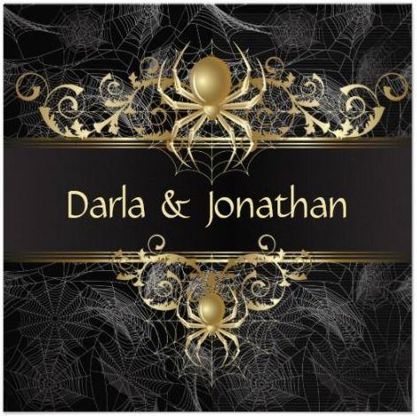 Silver grey Black theme Halloween Wedding Invitations – Halloween Wedding Save the Dates