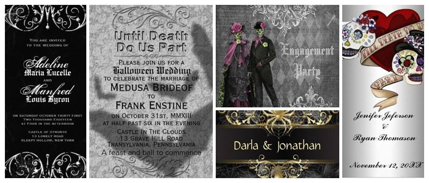 Silver grey & Black theme Halloween Wedding Invitations