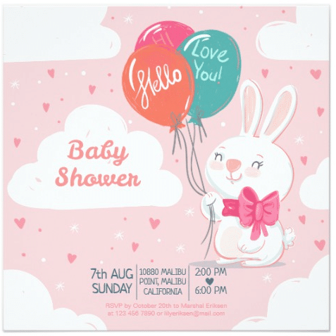 Cute Bunny with Balloons Baby Shower Invitation by ofbeautyandwonder
