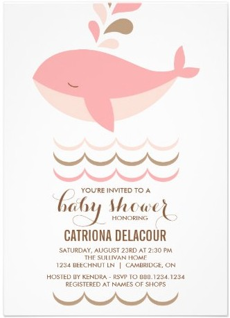cute pink whale itu0027s a girl baby shower invitation by