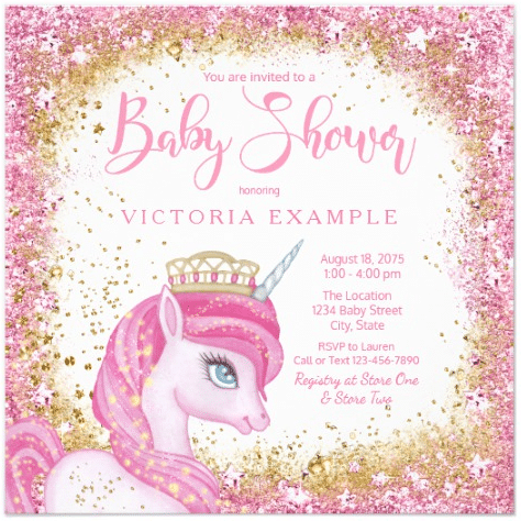 Girls Cute Unicorn Baby Shower Invitations by The_Baby_Boutique