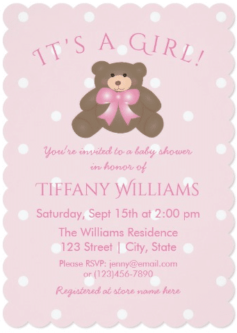 It's a Girl Cute Pink Bear Cub Baby Shower Invite by littleteapotdesigns