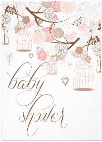 pink flowers and birdcages baby shower invitations