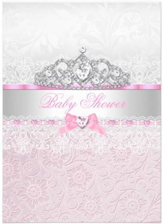 Girly cute pink girl baby shower invitations party ideas pink princess tiara lace baby shower invitation by exclusivezazzle filmwisefo Images