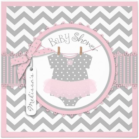 Pink Tutu and Chevron Print Baby Shower Personalized Invites by NouDesigns