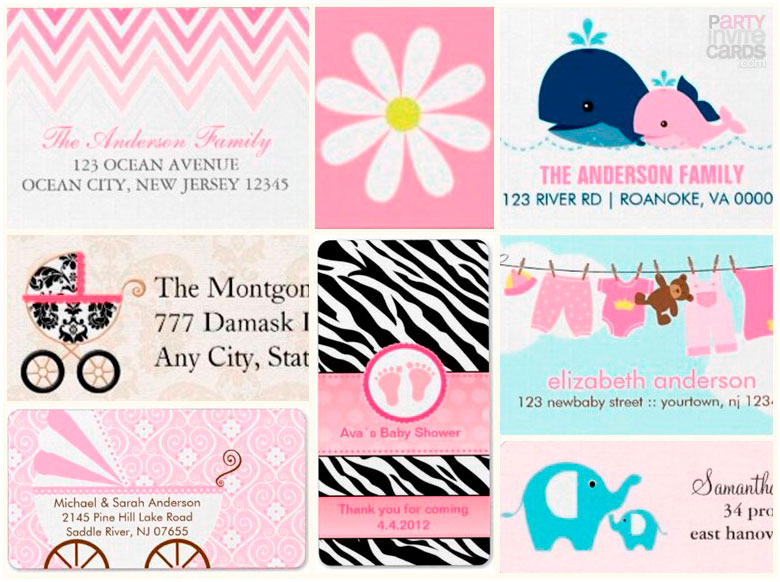 pink baby shower stickers labels