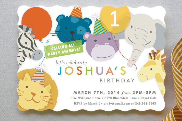 Modern Cute Baby Boy 1st Birthday Invitations Party ideas – Safari First Birthday Invitations