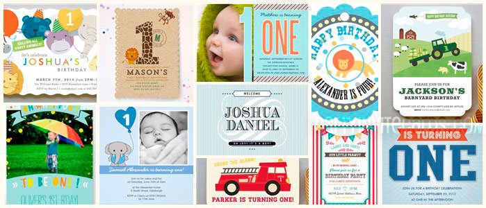 Modern Cute Baby Boy 1st Birthday Invitations Party ideas