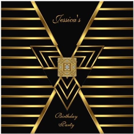 Stylish Glam Gold Amp Black Art Deco Invitations