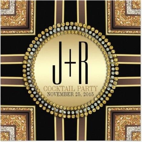 Squaz Art Deco Black Gold Dinner Party Invitation