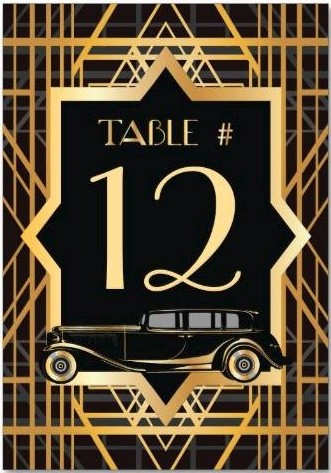 Roaring Twenties Gatsby Style Table Number Cards